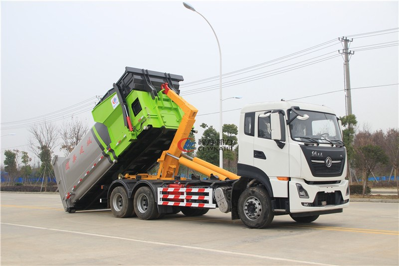 國六東風天龍25噸勾臂垃圾車